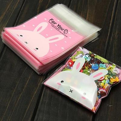 100pcs Rabbit Pattern Self Adhesive Cookie Candy Package Gift Bags Cellophane Birthday