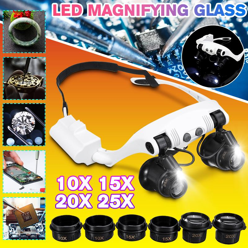 Professional 3x 4x 5x 6x 7x 10x 15x Adjustable 7 Lens Loupe Led Light Headband Magnifier Glass Led Magnifying Glasses With Lamp Buy At A Low Prices On Joom E Commerce Platform