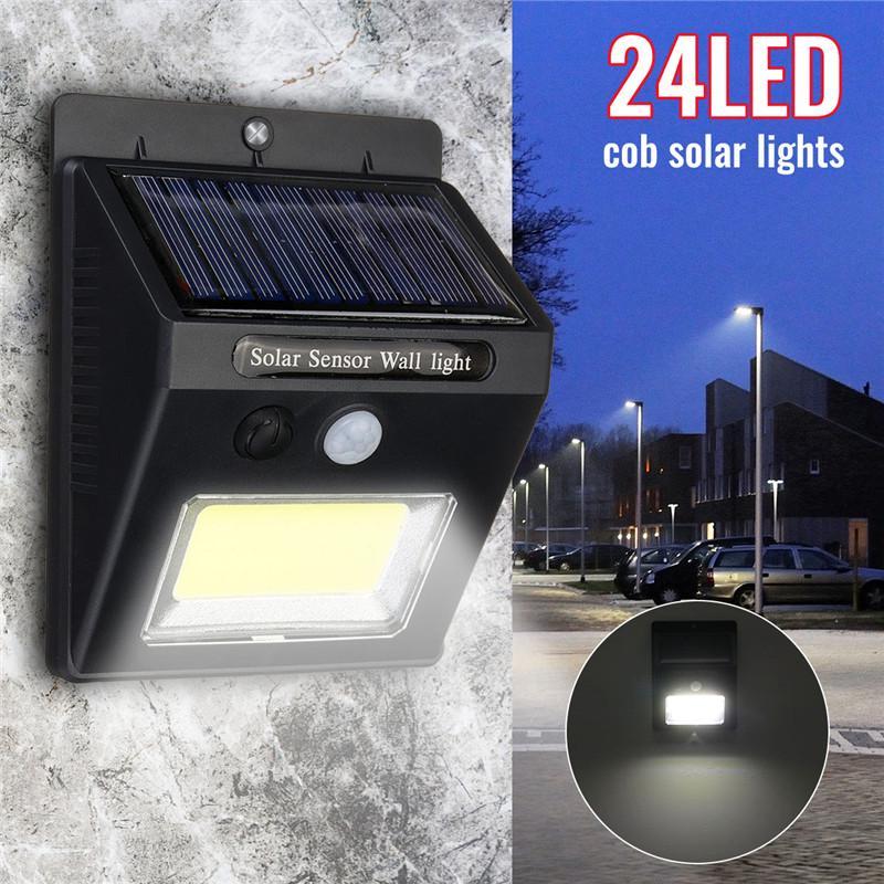 24LED Solar Powered PIR Motion Sensor Security Spot Light Outdoor Garden Lamp