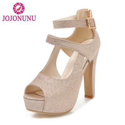 e6bfca0b1 Tamanho 31-43 romano sandálias salto alto Peep Toe sandálias fivela cinta  Sexy clube plataforma
