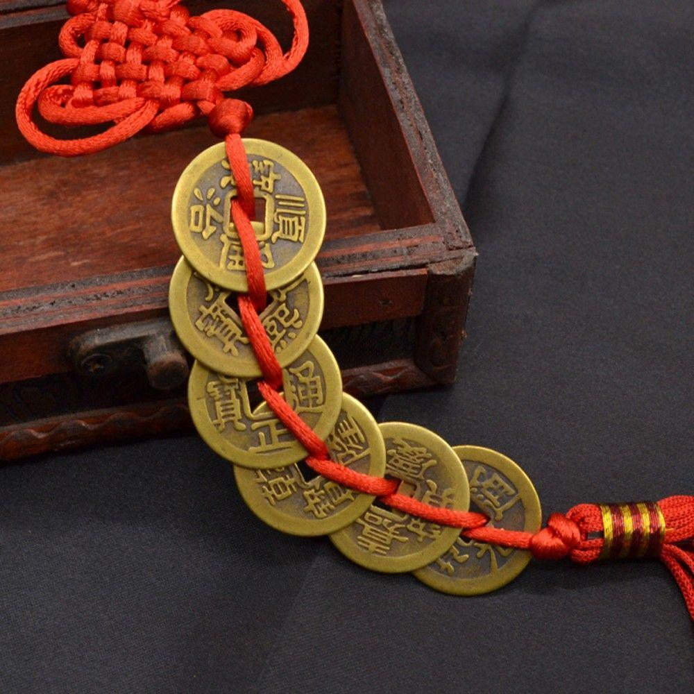 Wealth Success Copper Coin Chinese Knot Red Rope Feng Shui Lucky Car Decor