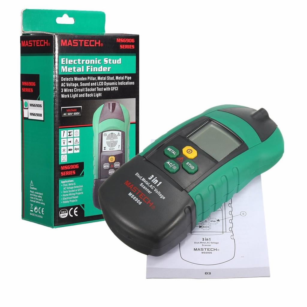 Ms6906 3 In 1 Multi Function Stud Metal Ac Voltage Scanner Tester Noncontact 600v Detector Electrical Circuit Wire Of 8