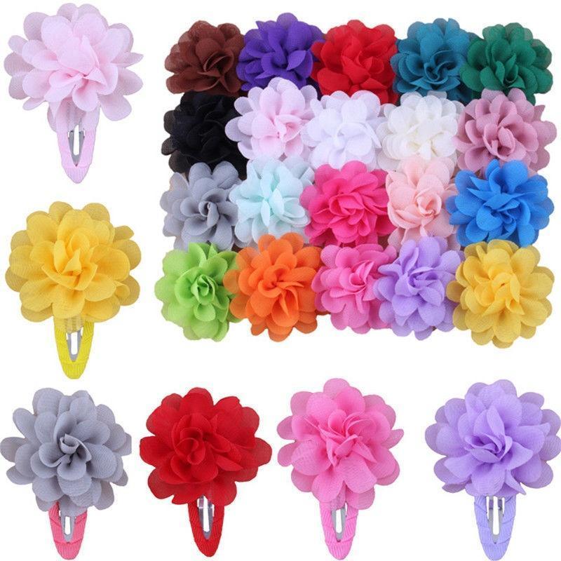 Girl/'s Hair Clips Toddler Hair Clips Hot Pink Hair Clip Aqua Hair Clip Peach Hair Clip Teal Hair Clip Chiffon Flower Hair Clips