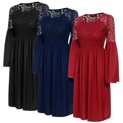 4007f76f256 Новые моды женщин сексуальные кружева крючком вспышки рукав плиссированные  коктейль платье