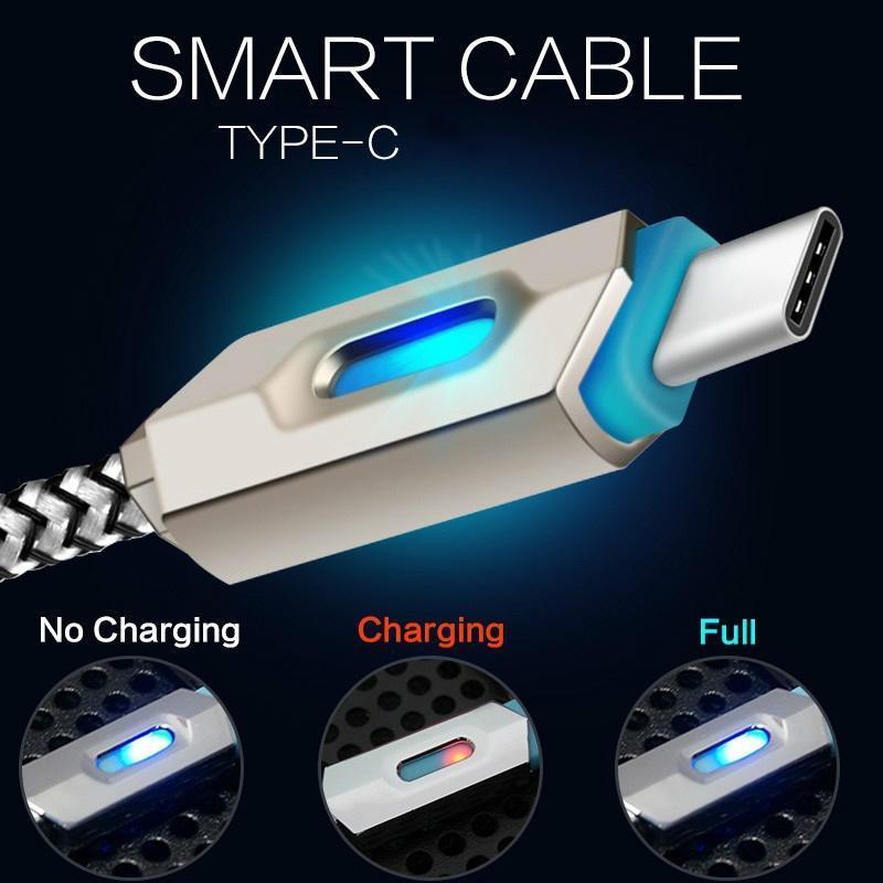 安卓三星 编织发光数据线 USB手机极速充电线 镀金数据线