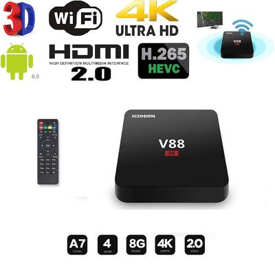 V88 TV Box RK3229 H 265 Quadcore 4K Wifi HDMI Android 6 0 8G Smart Set-top  Box