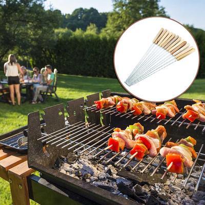 "10pcs 16/"" métal Barbecue Brochettes en bois poignée inox Kebab aiguille Barbecue Sticks"