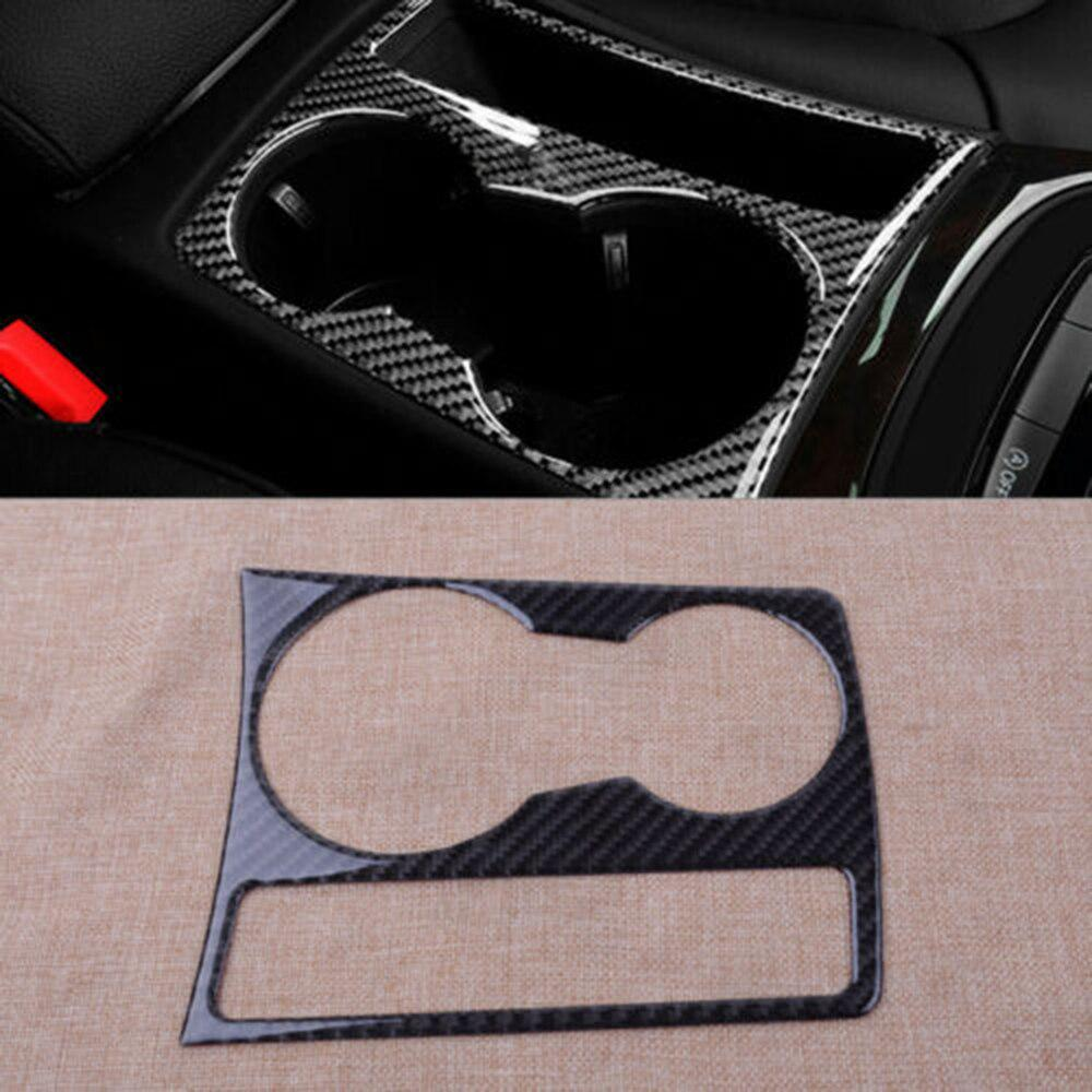 Carbon Fiber Console Water Cup Holder Panel Trim Cover for Audi A4 S4 2008-2015