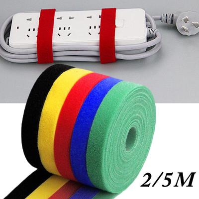 Vkey 5M Cable Ties Reusable Tape Wraps Roll Adjustable Wire Organizer Cord Rope Holder with Fastening Hook Loop for Computer Cable Management
