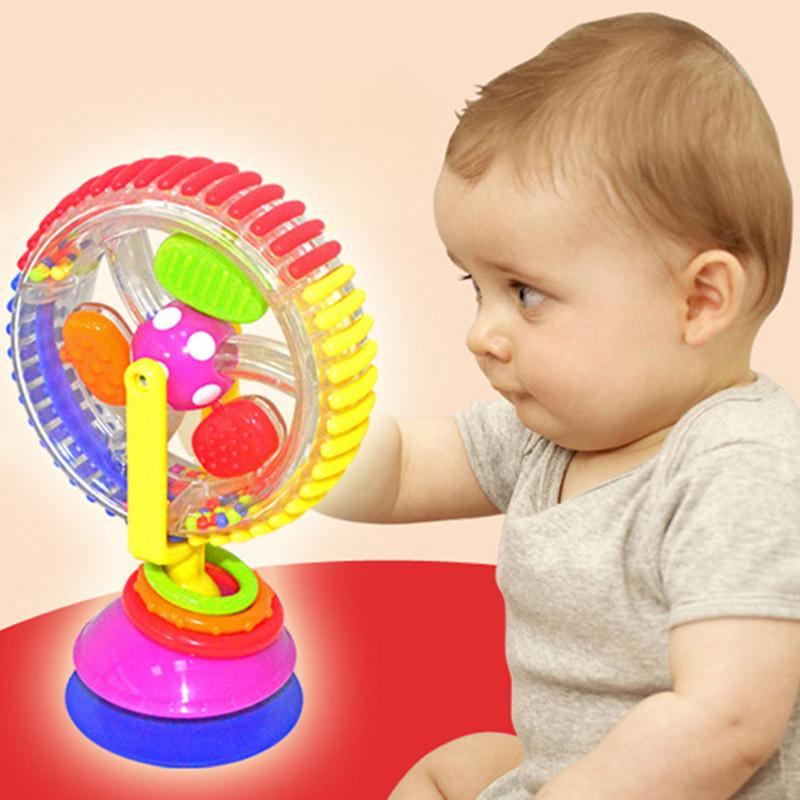 Baby Kid Funny Toys Rainbow Ferris Wheel Rattle Clanking Suction High Chair Toy