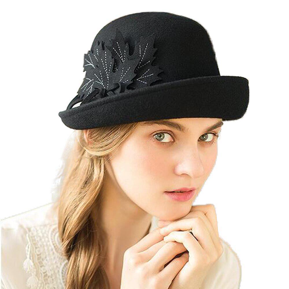 Flat Top Autumn Winter Retro Wide Brim Fedoras Hat Womens Bowler Floppy Imitation Wool Cloche Cap