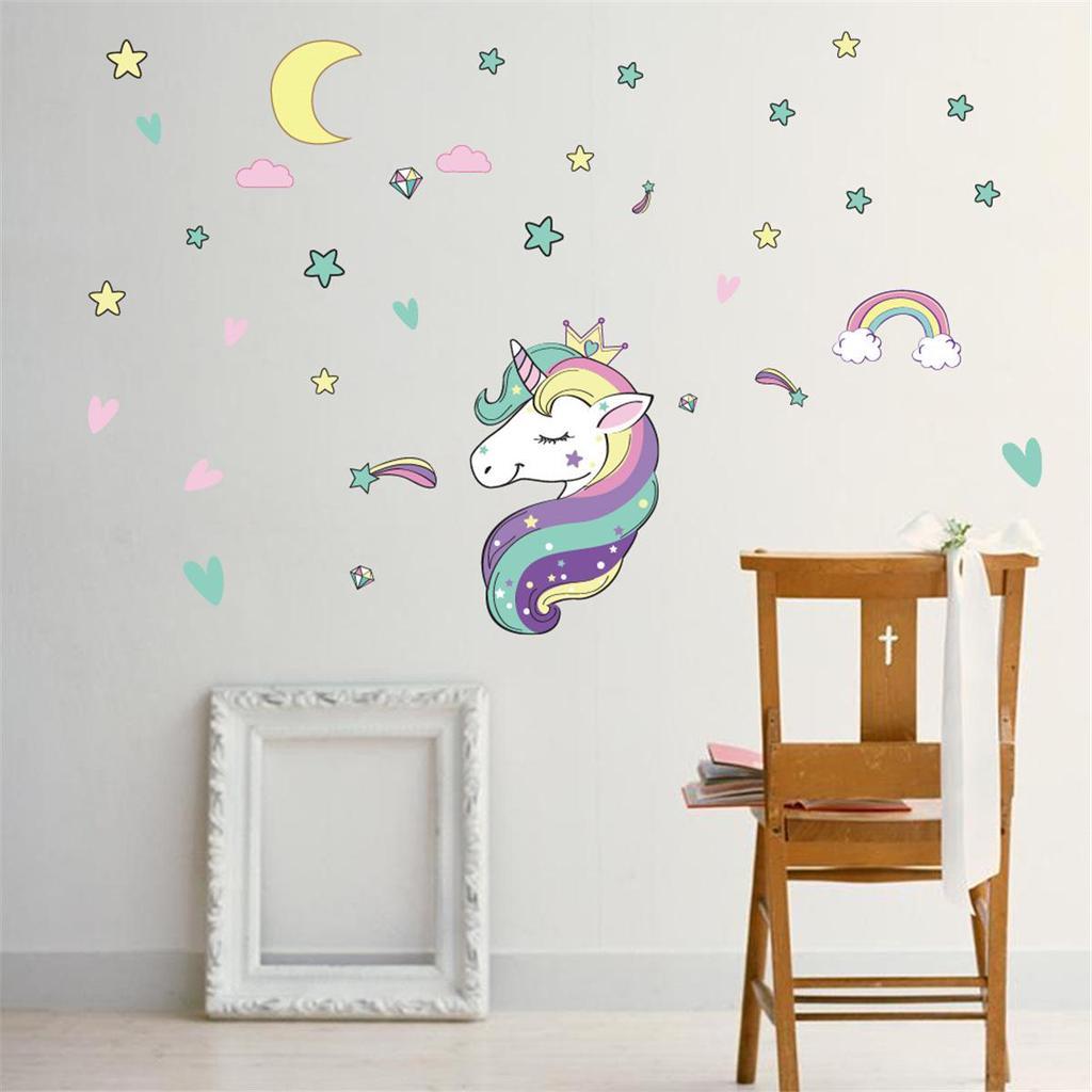 Fairy Unicorn Star Heart Wall Stickers Removable Girls Kids Nursery Room Decor