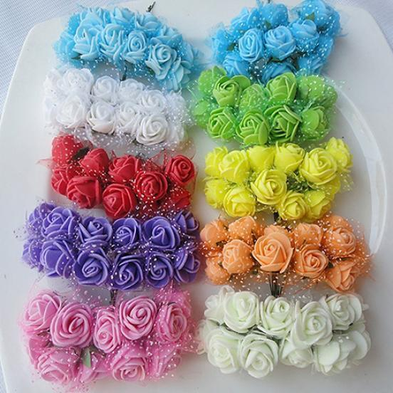 144Pcs Mini Artificial Flowers Small Foam Rose Heads Wedding Party Home Decor
