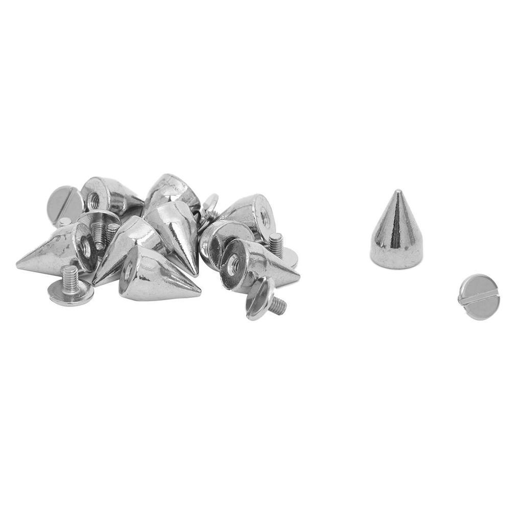 10 Kupfer 9.5x15mm Silber Killernieten Spitz Nieten Schraubennieten Deko.