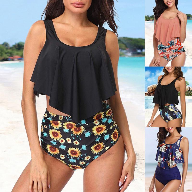 GEMAN Womens Retro High Waisted Bathing Suit Printed Two Piece Swimsuit Ruffled Tummy Control Tankini Swimwear