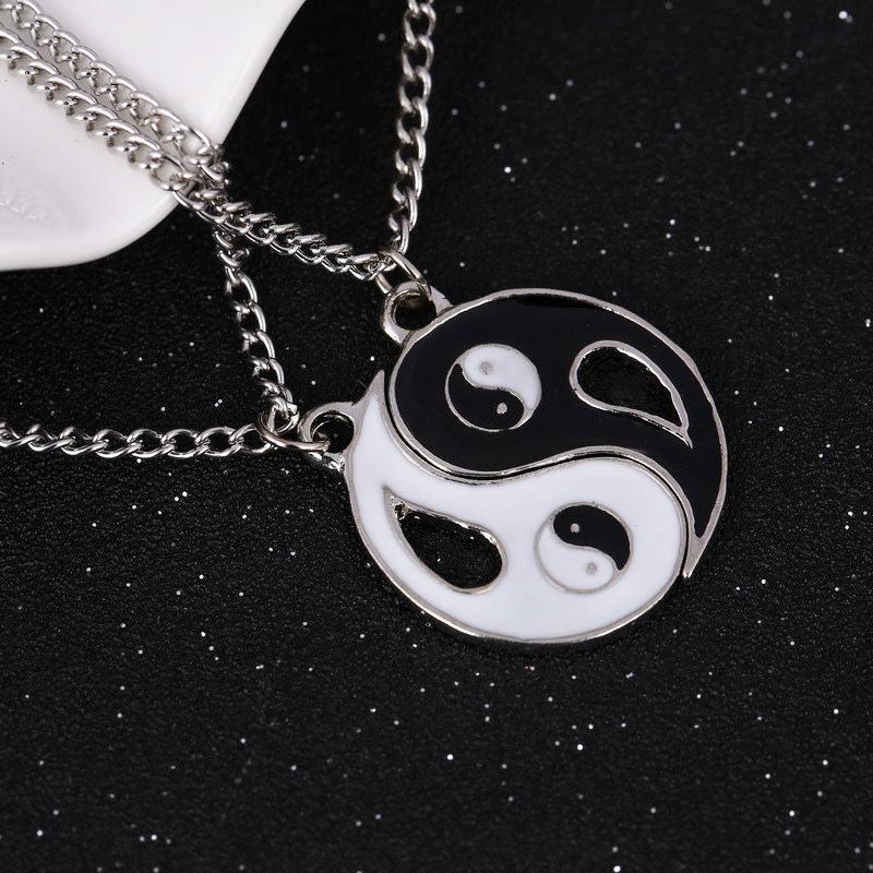 A Set Retro Classical Gossip Yin Yang His/&hers Matching Set Titanium Steel Couples Pendant Necklace