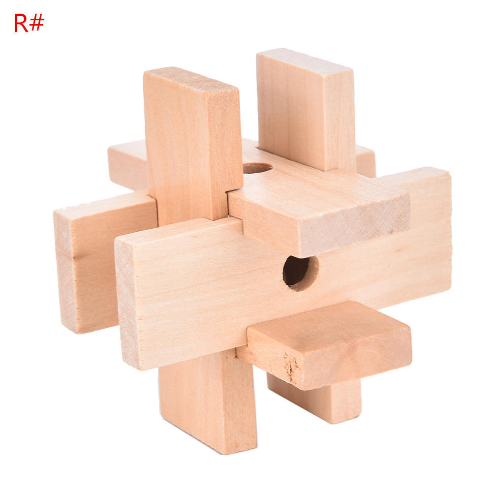 3D Kids Wooden Puzzle IQ Brain Teaser Burr Interlocking Puzzles Game Toys BR