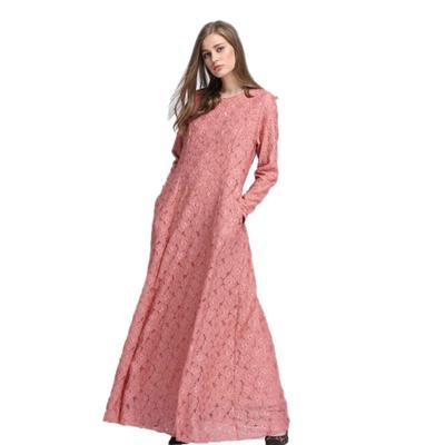 65448ce429 Fashion Women Lace Abaya Slim Maxi Dresses Arab Robes Islamic Dubai Turkey  Muslim Gown Dress