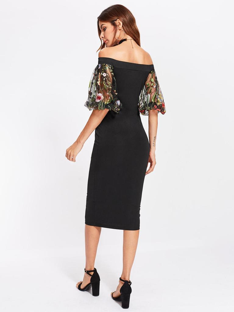 4272b32bd865f SHEIN Bardot Dress With Embroidered Mesh Puff Sleeve-buy at a low ...