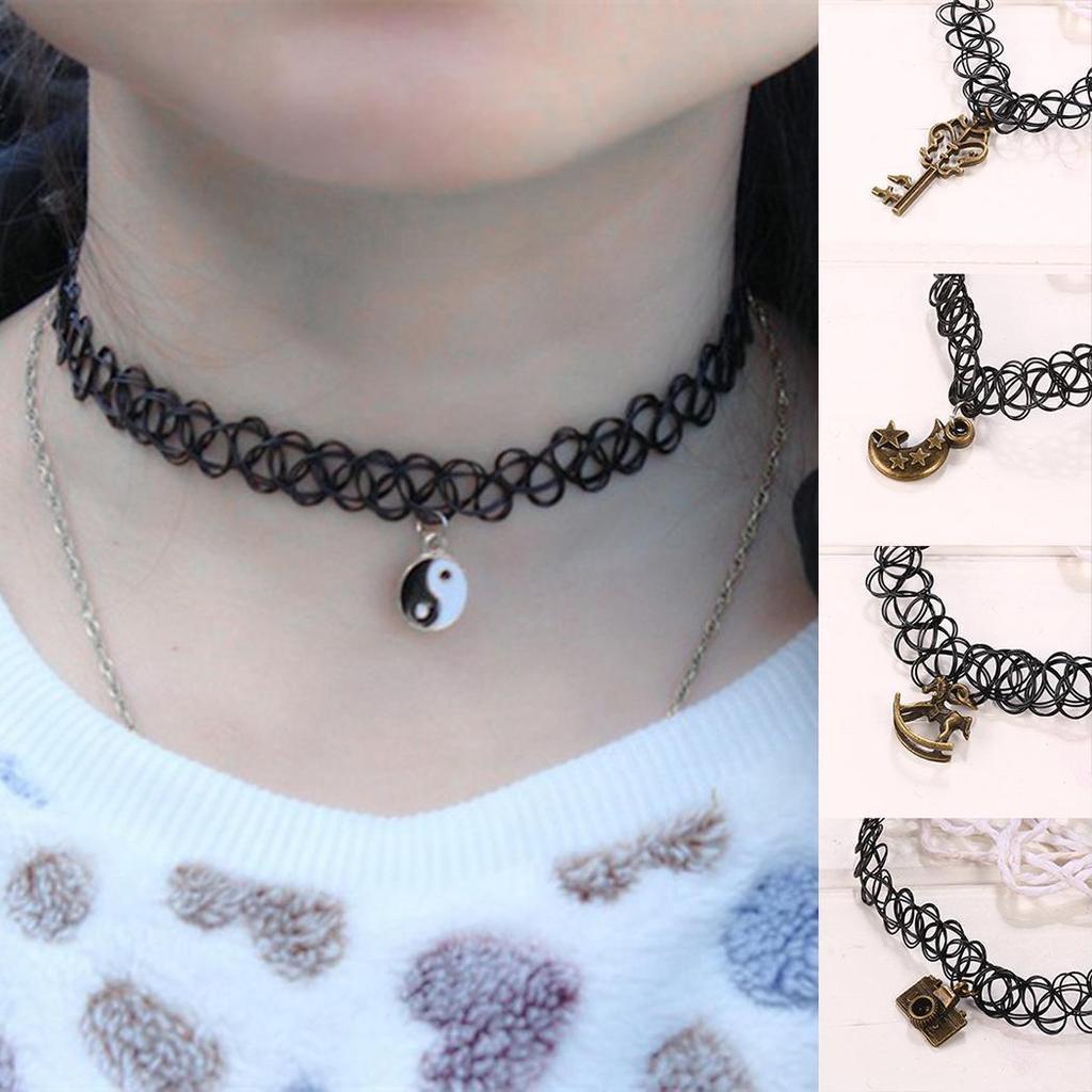 6pcs Boho Lady/'s Charm Chocker Stretch  Gothic Lace Choker Vintage Necklace OC