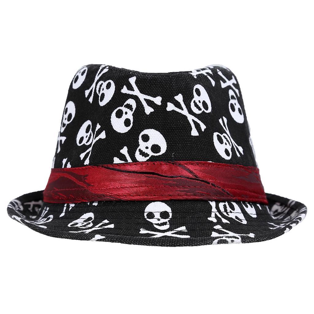 Niño niños niñas de niños bebé tapón sombrero Fedora - negro con ... 35a07420fe2