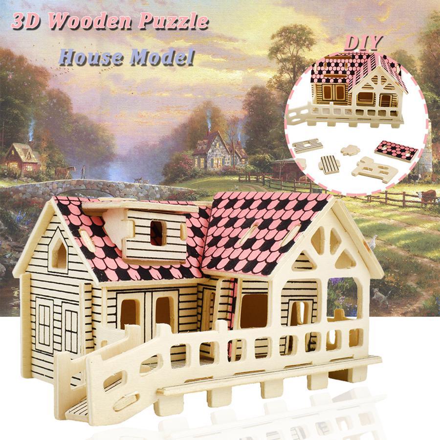 3D Деревянный дом головоломки Строительство ручной сборки Собранная модель Комплект Игрушки Подарки для подростков Взрослые Партия Благоприятствует школьных поставок – купить по низким ценам в интернет-магазине Joom