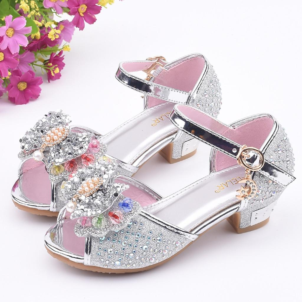 Toddler Kids Girl Pearl Butterfly-Knot Crystal Single Rhineston Princess Sandals