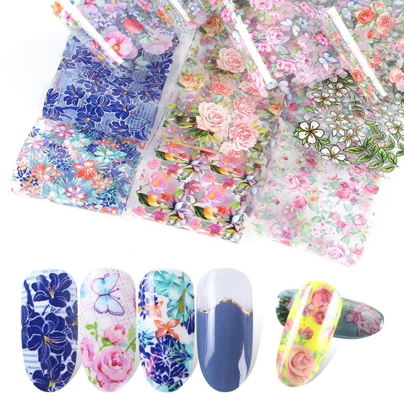 10pcs/pack Nail Stars Applique Retro Pop Floral Transfer Paper nail art отличительные знаки