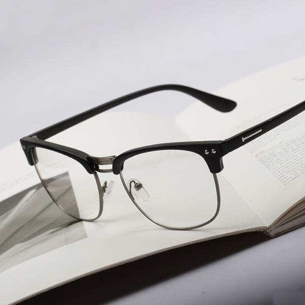 厂家直销潮流无度数方框平光眼镜 男女款护目镜 金属半框平光镜