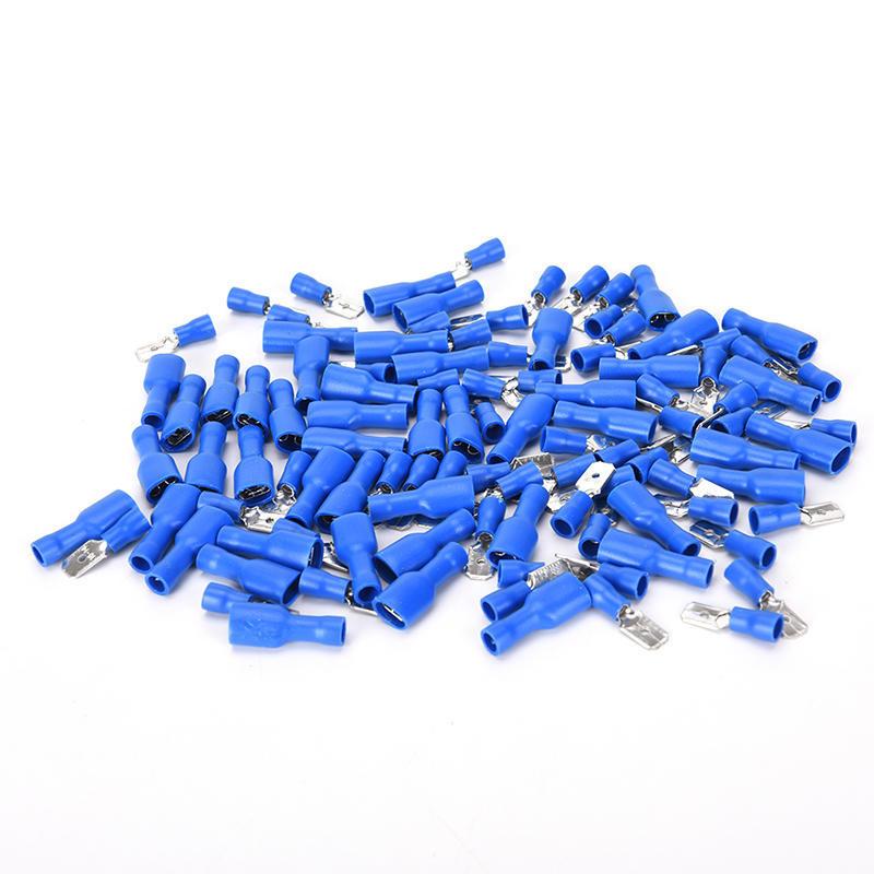 100 x blau isolierte Spaten elektrische Crimp Draht Kabel Stecker ...