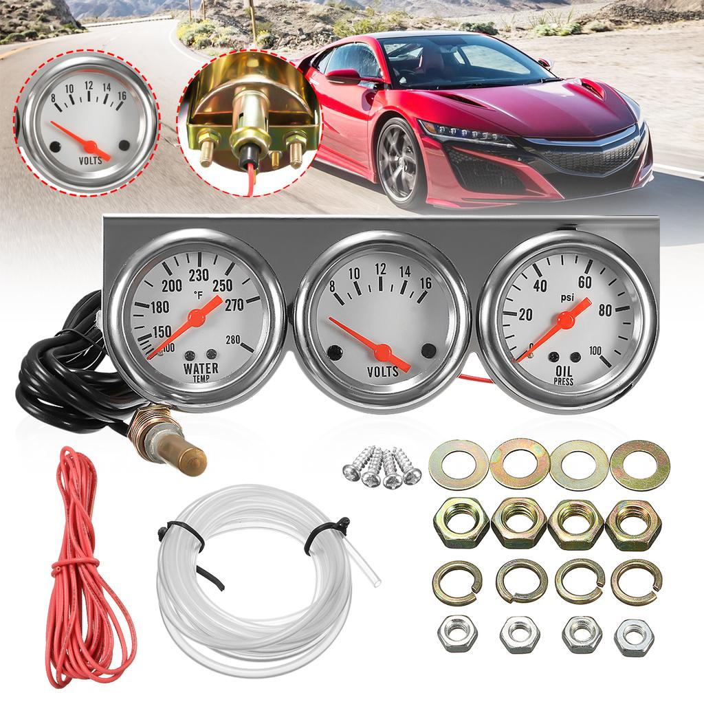 2inch 52mm Triple Gauge Set Oil Pressure Gauge Water Temperature Voltage Meter