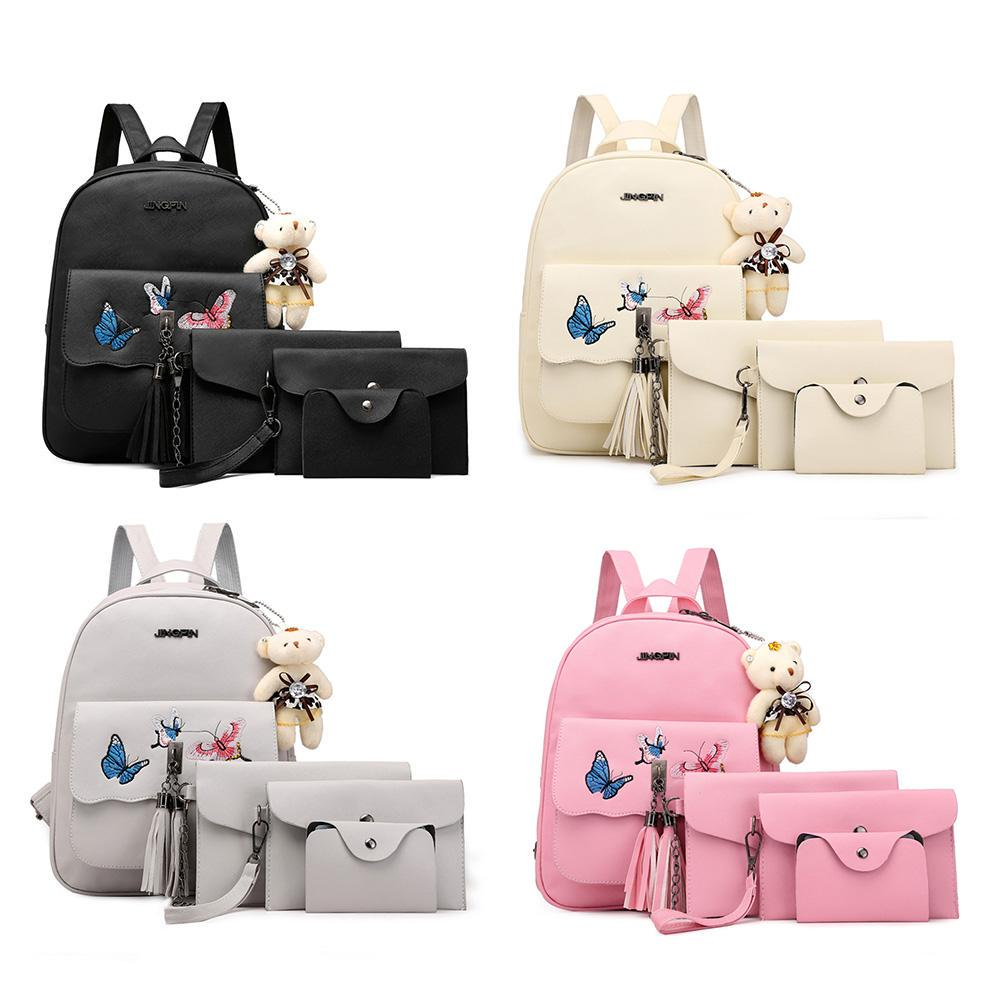 Composite Backpacks Kids Female Purse Set Girls PU Leather Bowknot Backpack Schoolbags Waterproof Backpack Women With Bear Model A series