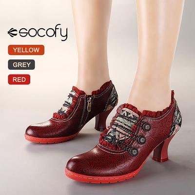 Socofy Vintage Genuine Leather Pumps Women Shoes Retro Bohemian Spring Autumn Zipper Lace Brim Ankle Pumps Ladies Shoes Heels Buy At A Low Prices On Joom E Commerce Platform