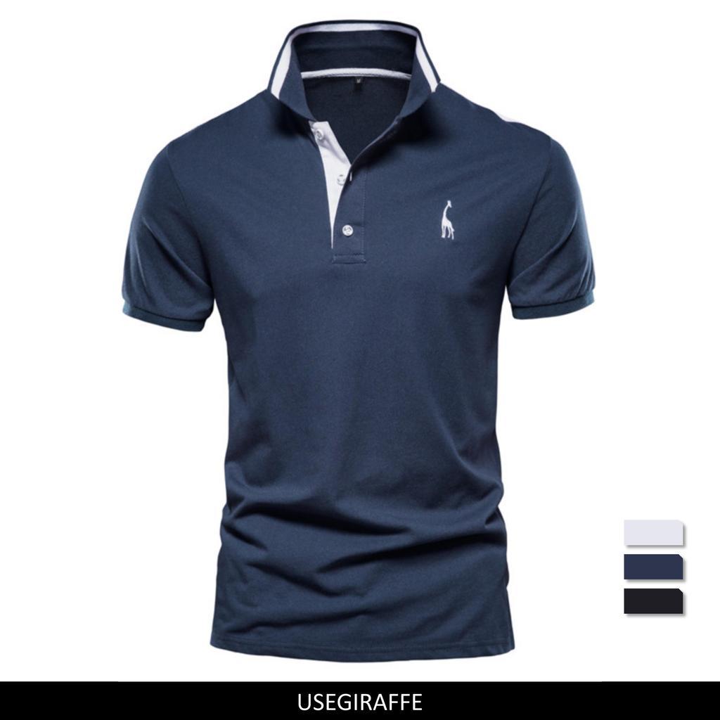 Usegiraffe Men's T-shirt Polo Business T-shirt Men's Fashion Slim Fit Type Simple Color POLO Shirt Men's Cotton High Quality Summer Casual
