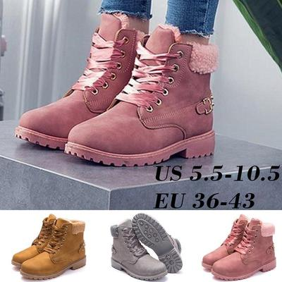 Womens Army Combat Winter Warm Ankle Boots Flat Fur Low Heel Snow Shoes Sizes