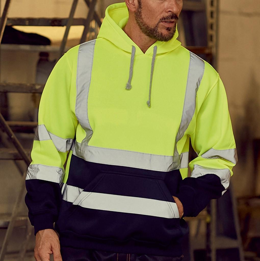 Men Road Work High VisibilityPullover Long Sleeve Hooded Sweatshirt Tops Blouse