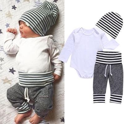 5327fa656 3Pcs Newborn Infant Baby Boy Romper Shirt Pants Hat Pajiamas Outfit Set  Clothes