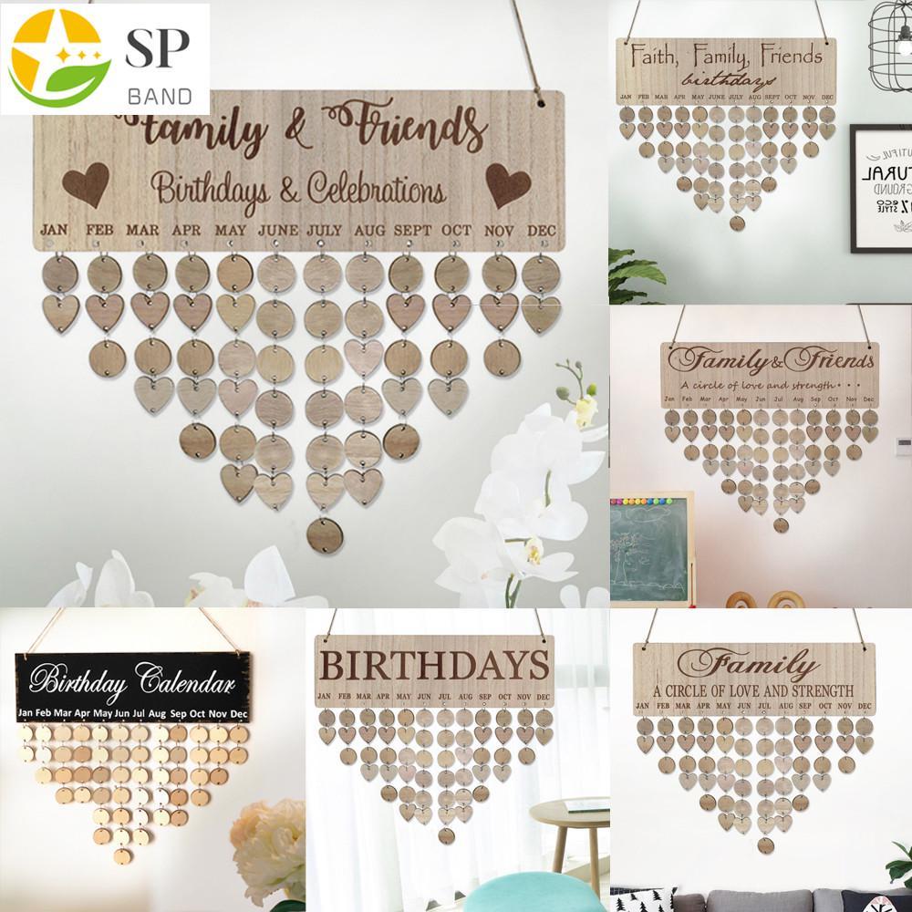 Family Birthday Board Plaque DIY Hanging Wooden Birthday Reminder Calendar Decor
