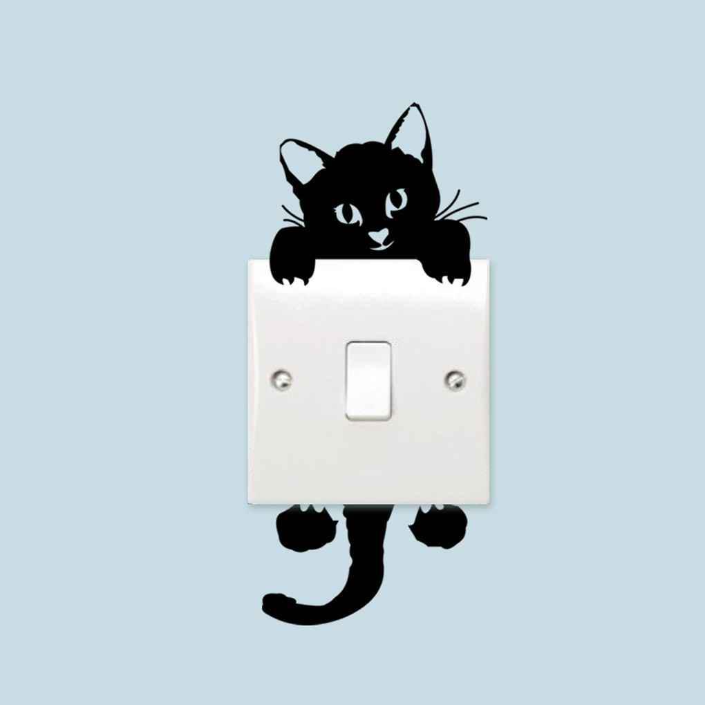 DIY мало Cat свет переключатель стикер стены стикер Термоаппликации домашнего украшения фото