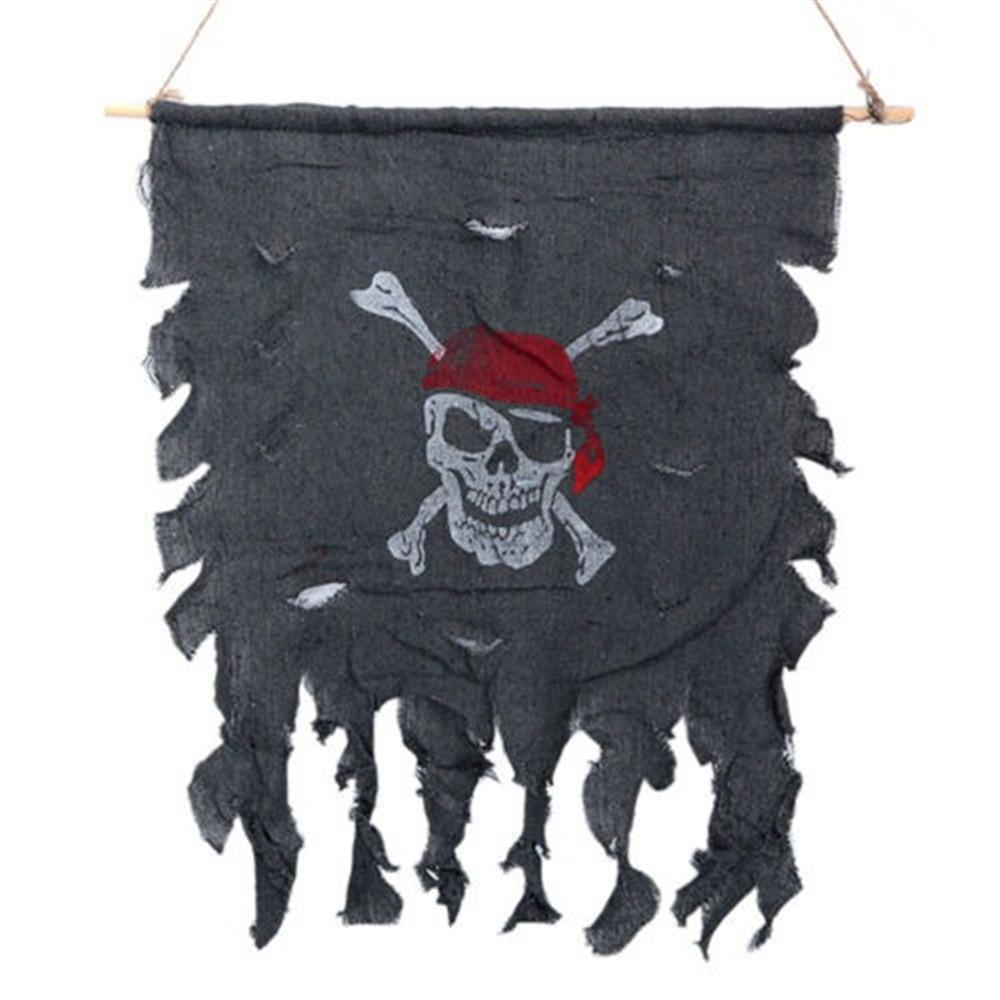 Festival Supply Halloween Party Linen Cloth Skull Pirate Flag Curtain