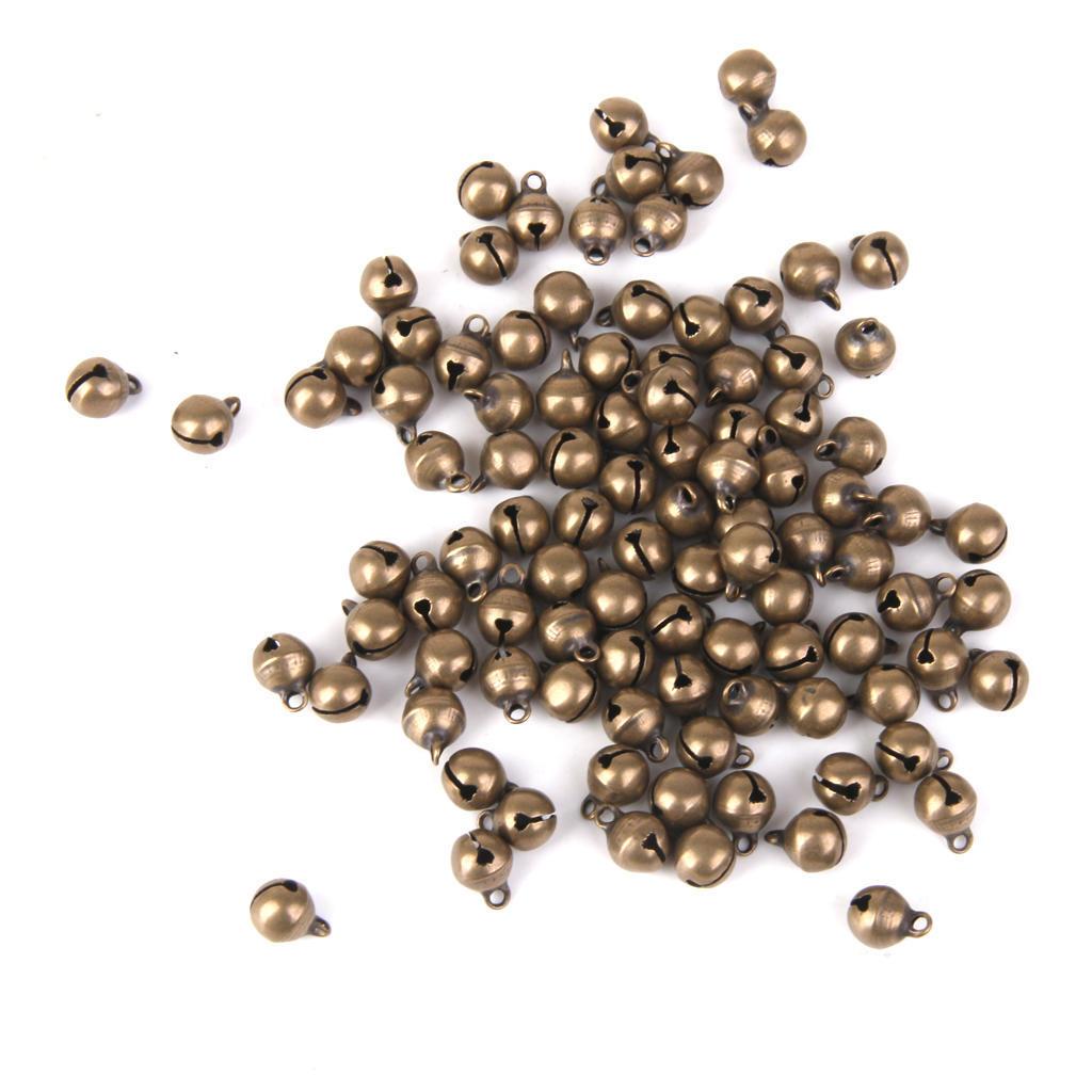 Wholesale 100pcs Bronze Jingle Bell Cat Bell Charm Pendant Jewelry Craft 6mm