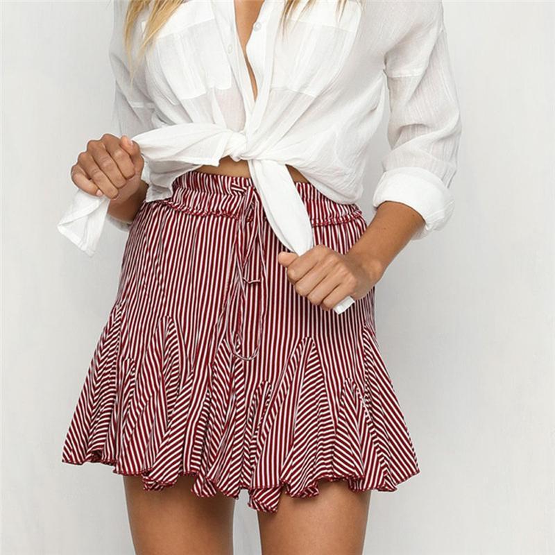 Faldas faldas 2018 mujeres alta cintura plisada 4Styles rayas Mini ... 9e693eca93c9