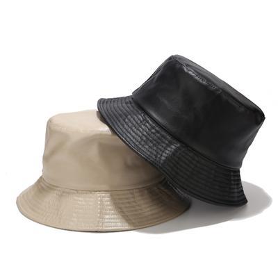 PU Bucket Hat Leather Fishing Cap Soild Foldable Hiking Hats Hip-Hop Street Waterproof Panama Caps for Women and Men