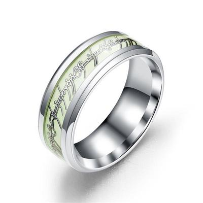2 Color Optional Fashion Design Men Luminous Stainless Steel Rings