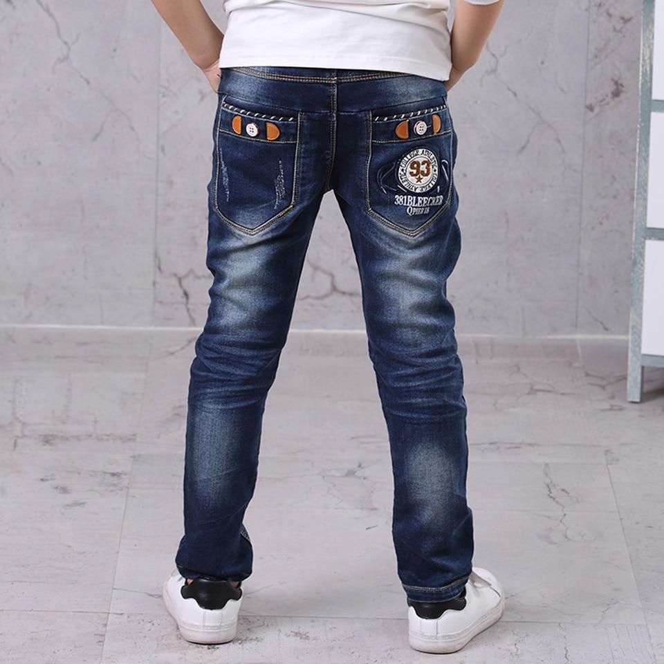 Джинсовые штаны для маленьких мальчиков; модные джинсы для мальчиков на весну-осень; детские джинсовые брюки; синие ко ... – купить по низким ценам в интернет-магазине Joom