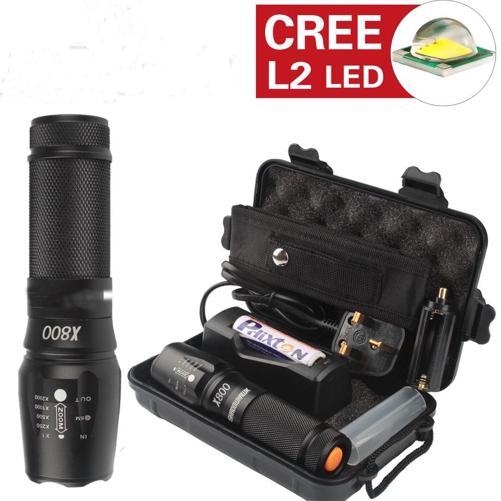 Tactical Military Grade Cree Torch 2000LM G700 T6 XML LED Light Batteries UK
