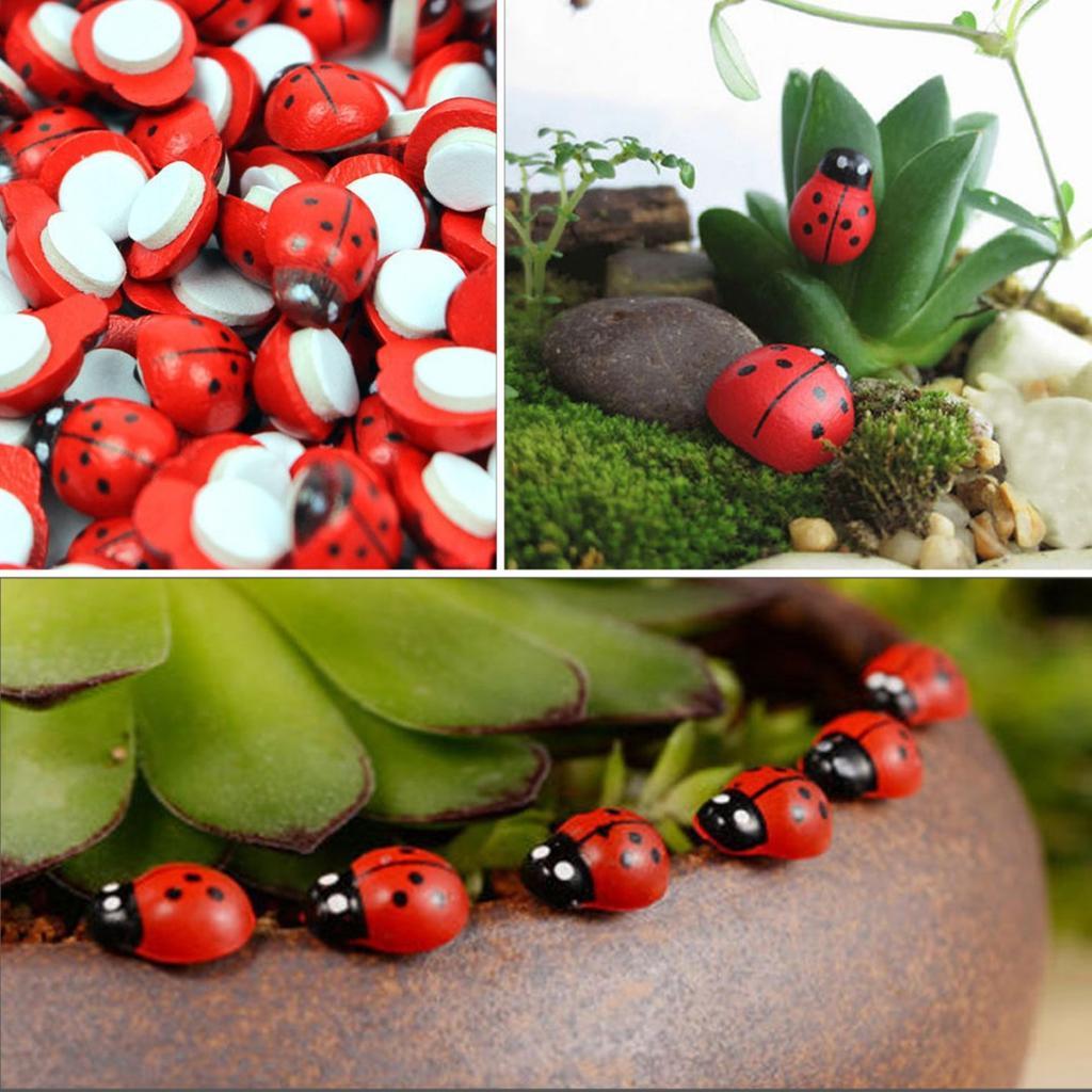 100x Miniature Ladybird Ladybug Garden Ornament Figurine Fairy Dollhouse Decor