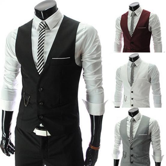 6ce844c5317 Negocio Formal Slim Fit con cuello en v chaleco de un solo pecho sólido traje  chaleco de los hombres - comprar a precios bajos en la tienda en línea Joom