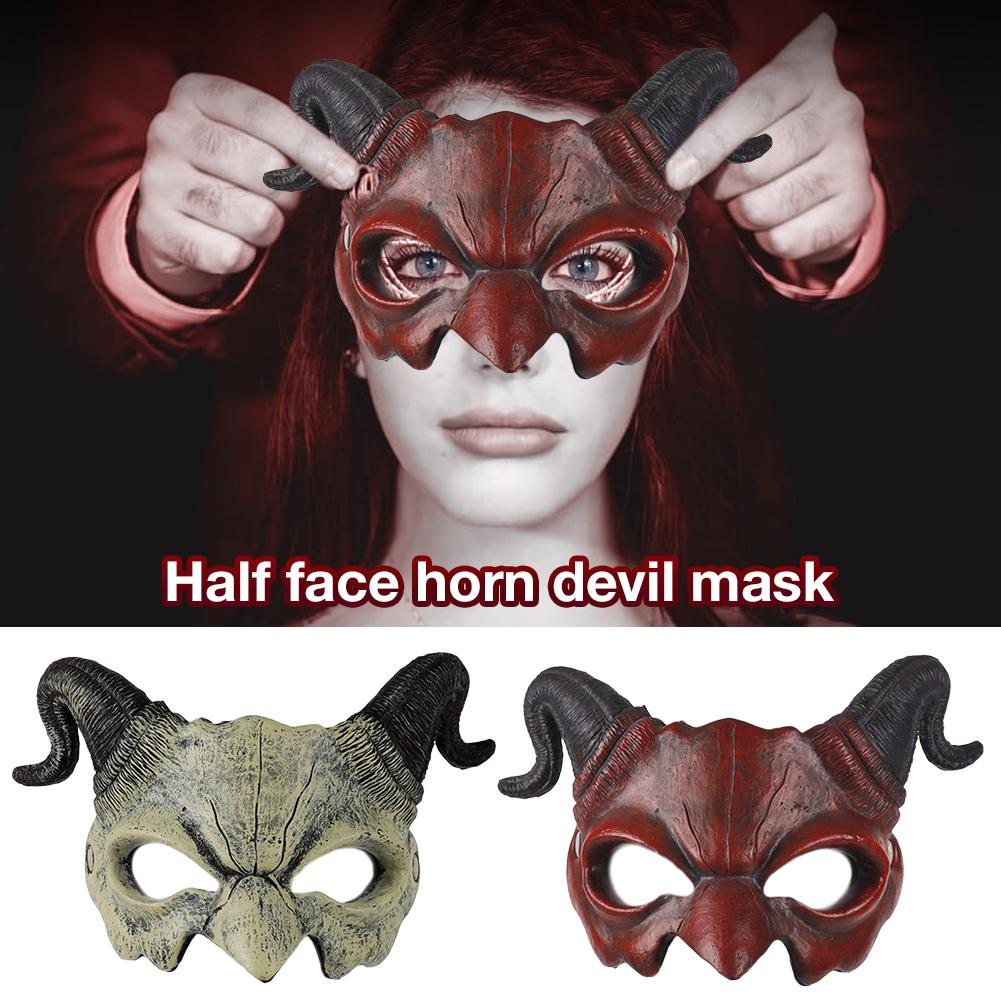 Details about  /Grey Horned Devil Deluxe Latex Halloween Carnival Cosplay Mask Fancy Dress Up