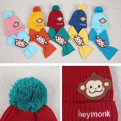 6c4cc05b729 Baby Boys Girls Kids Cartoon Monkey Hat+Scarf 2Pcs Child Knitting Warm Hats  Cap